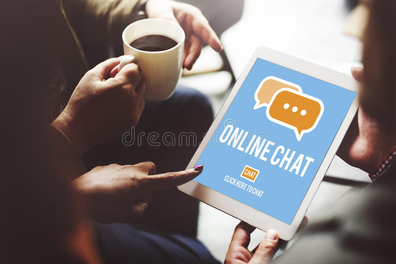 Concept global de communication de conversation en ligne de causerie photo stock