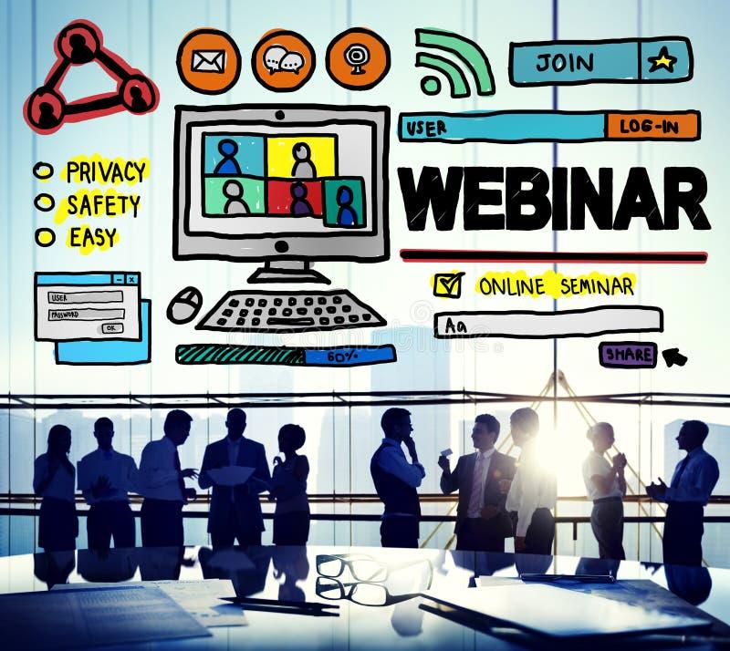 Concept global de Conmmunications de séminaire en ligne de Webinar image stock