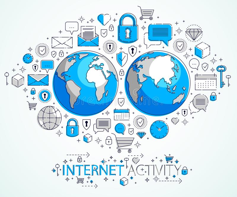 Concept global de connexion internet, la terre de plan?te avec l'ensemble diff?rent d'ic?nes, activit? d'Internet, grandes donn?e illustration libre de droits