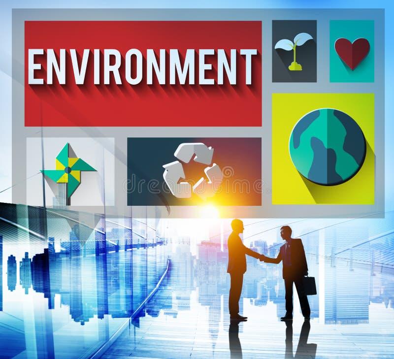 Concept global de conservation environnementale d'écologie d'environnement images libres de droits