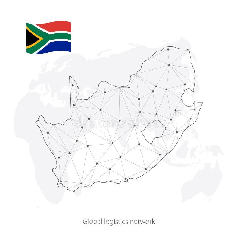 Concept global de réseau de logistique Carte du réseau Afrique du Sud et Irlande de communications sur le fond du monde Carte de  illustration de vecteur