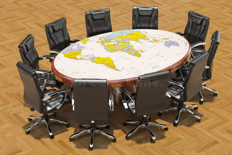 Concept global de réunion politique Table ronde avec la carte politique de la terre et des fauteuils autour, rendu 3D illustration stock