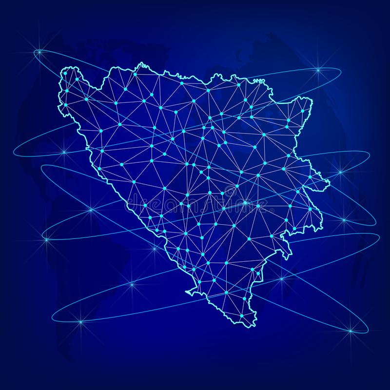 Concept global de r?seau de logistique Carte du réseau Bosnie-Herzégovine de communications sur le fond du monde Carte de la Bosn illustration libre de droits
