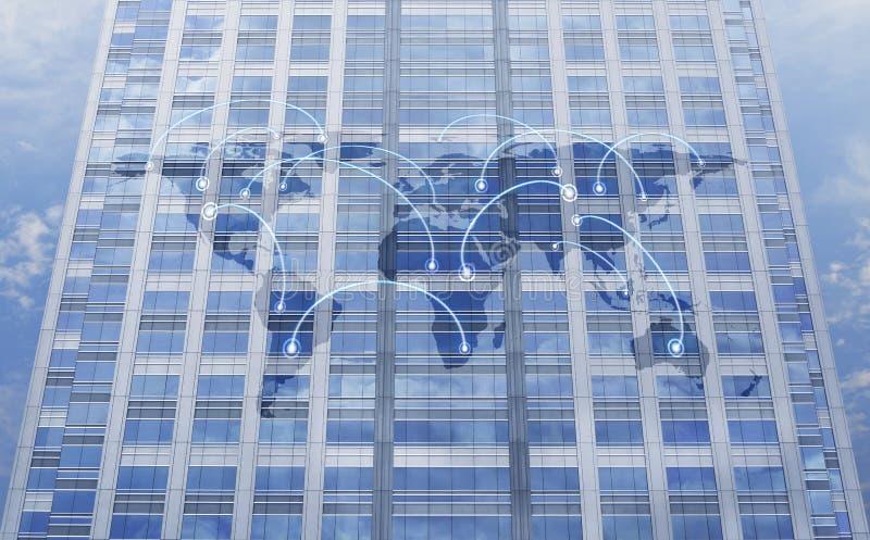 Concept global de relation d'affaires sur la tour de fenêtre images stock