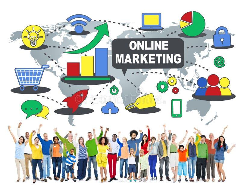 Concept global de stratégie commerciale de commerce de marketing en ligne photos stock