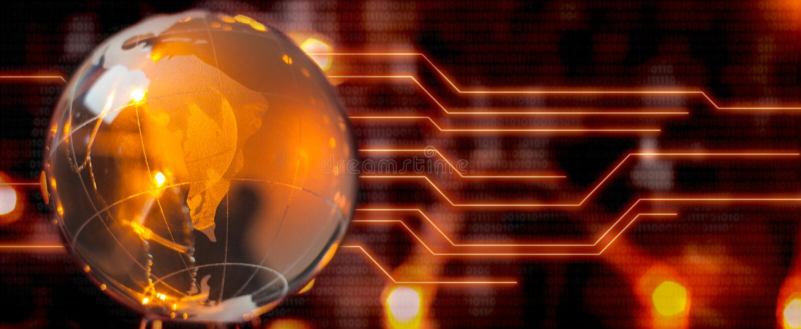 The concept of a global Internet network. Digital background of red color. stock photo