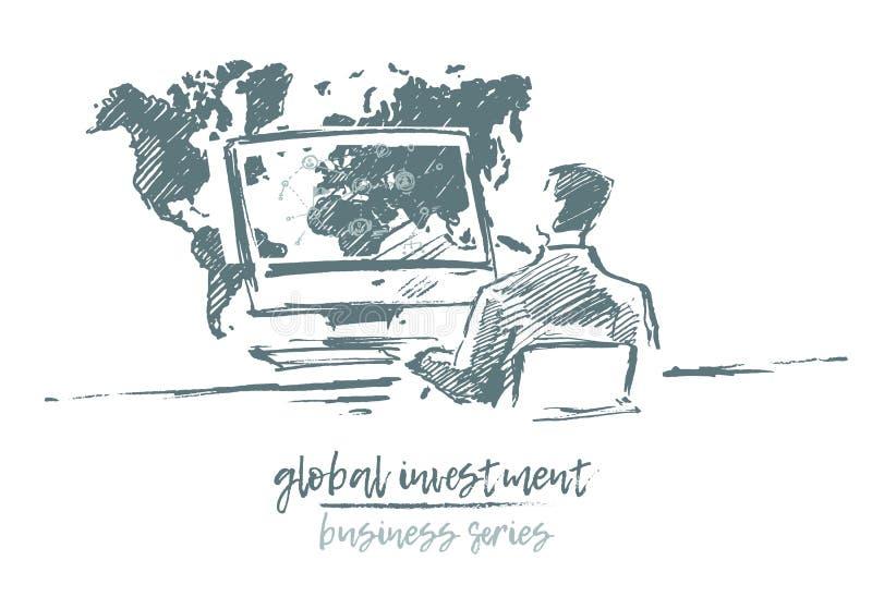 Concept global investment businessman vector. Business concept, global investment, businessman working on a computer, vector illustration, sketch stock illustration
