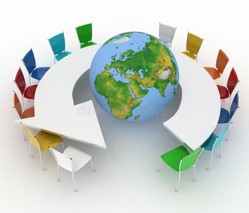 Concept of global politics, diplomacy, environment, world leadership vector illustration