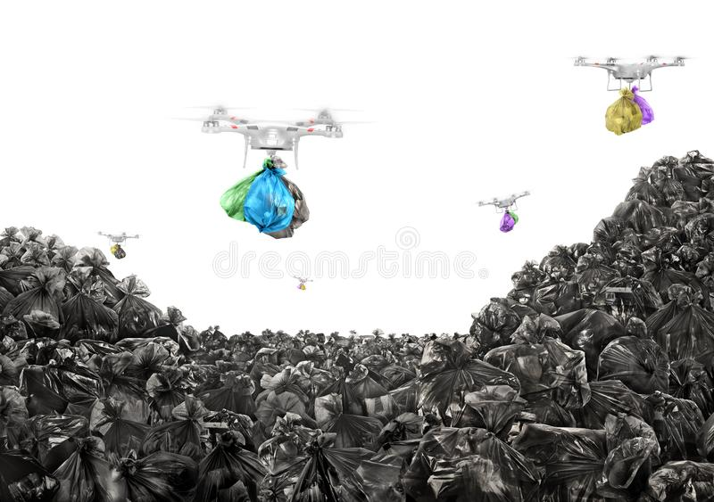 Concept of global pollution. Drones carry garbage bags. On a white background. Environmental pollution royalty free stock images
