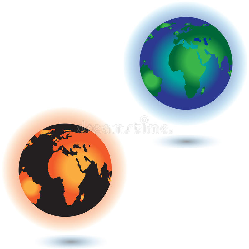 Concept of the Global warming. Sun burning the planet Earth. vector illustration