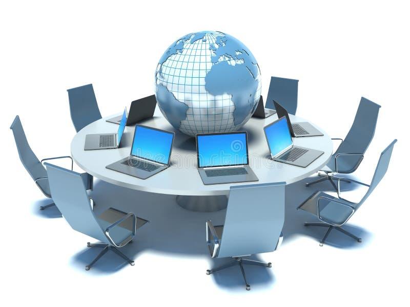 Concept globale bedrijfsmededeling stock illustratie