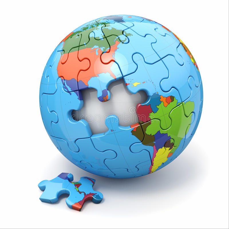 Concept of Globalization. Earth puzzle. 3d. Concept of Globalization. Earth puzzle on white background. 3d stock illustration