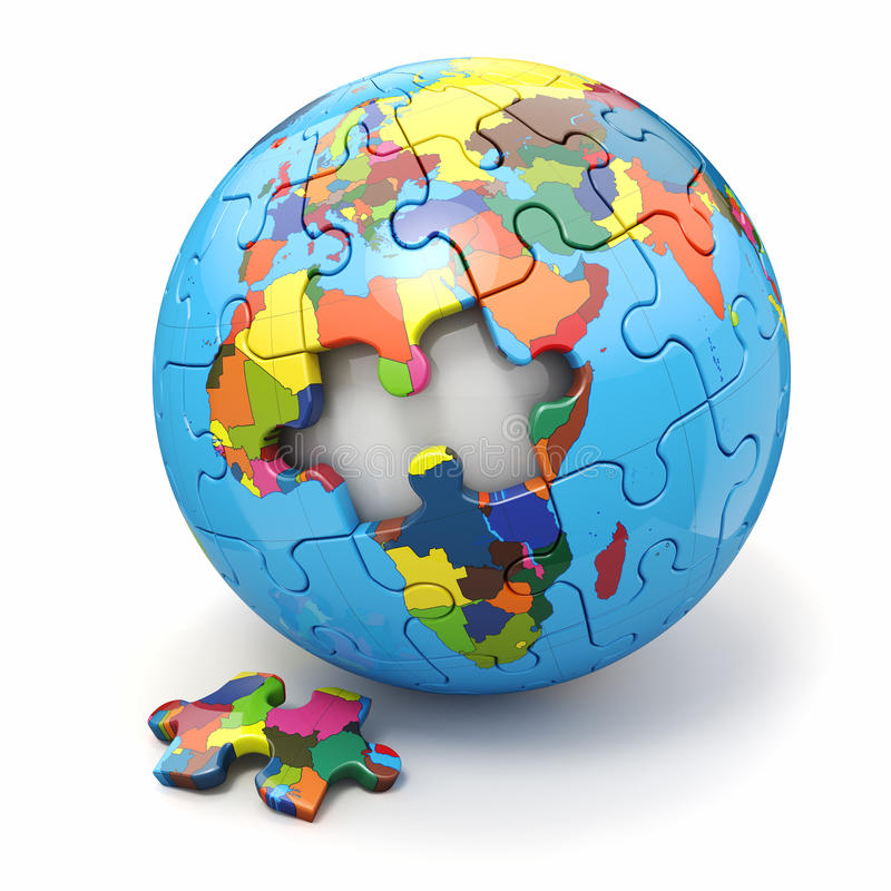 Concept of Globalization. Earth puzzle. 3d. Concept of Globalization. Earth puzzle on white background. 3d vector illustration