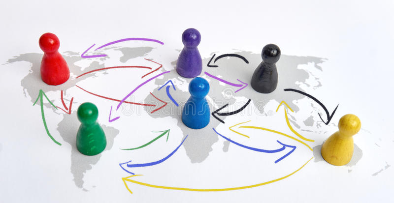 Concept for globalization, global networking, travel or global connection. Colorful figures with connecting arrows. royalty free stock image
