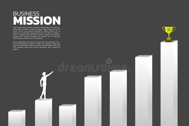 Route to success. silhouette of businessman point to trophy on top of graph. vector illustration