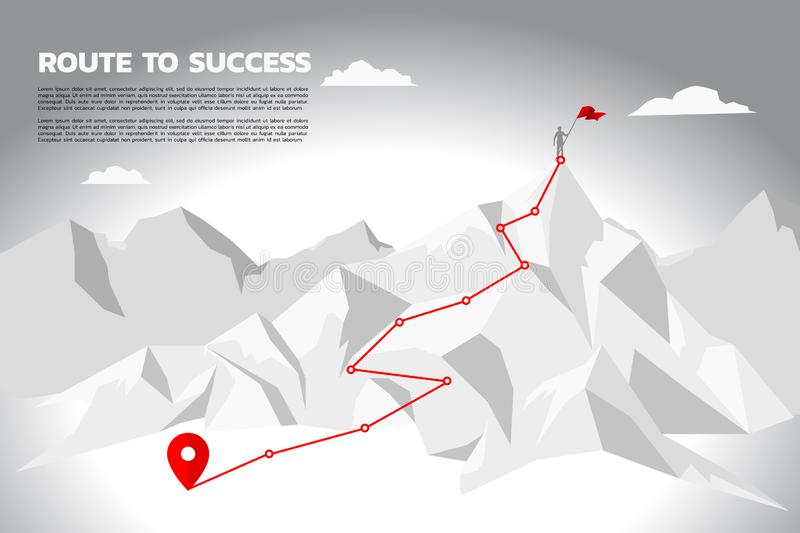 Route to success. silhouette of businessman with the red flag standing on the top of mountain. stock illustration