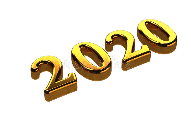 Concept of gold 2020 New Year text isolated on white background without shadows. 3D Render royalty free illustration