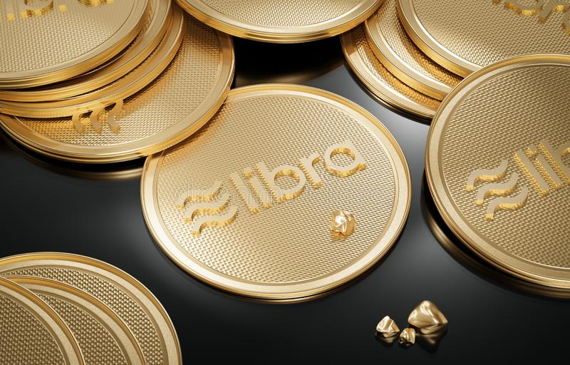 Concept of golden Libra coin with logo on front and gold nuggets stock illustration