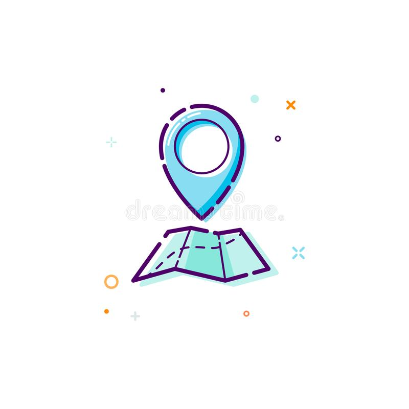 Concept gps icon. Thin line flat design element. map and pointer icon concept. Vector illustration isolated on white background stock illustration