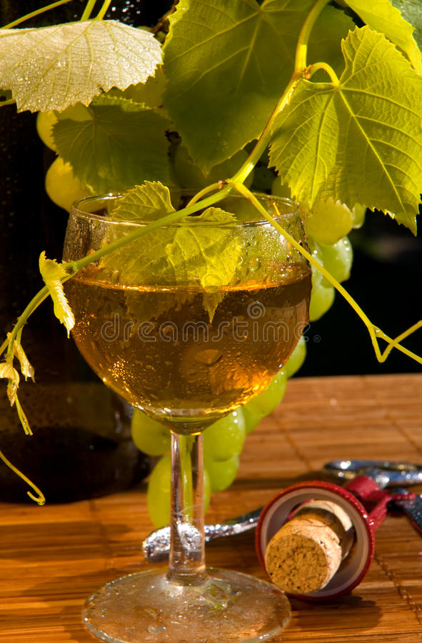 Concept grape wine. With grape and goblet royalty free stock photo