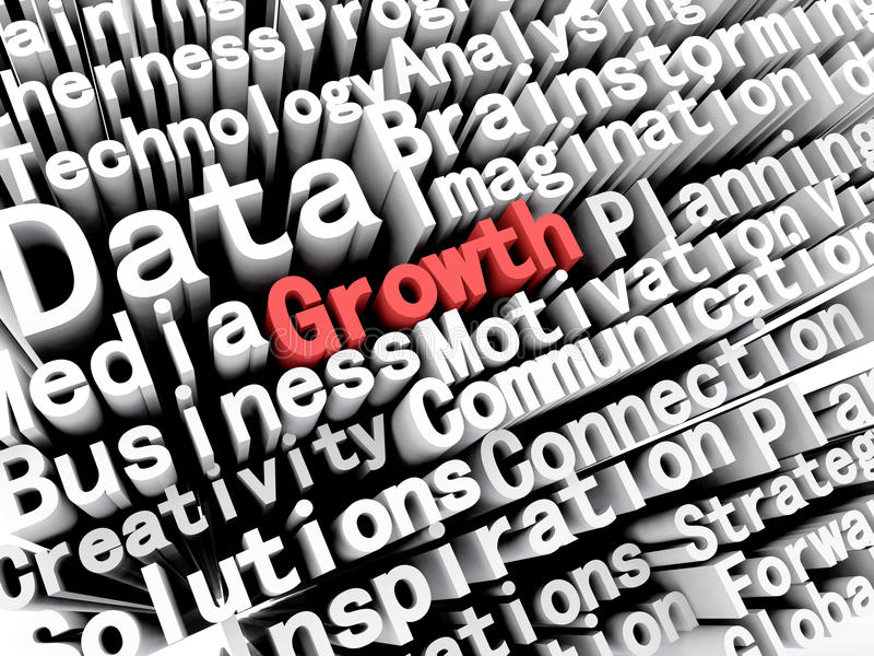 Concept graphic depicting business and growth written in red. A concept graphic depicting business words aligned next to each other with the word growth written stock illustration