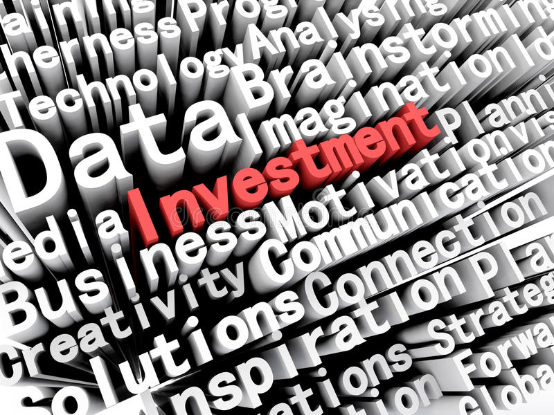 Concept graphic depicting business and investment written in red stock illustration