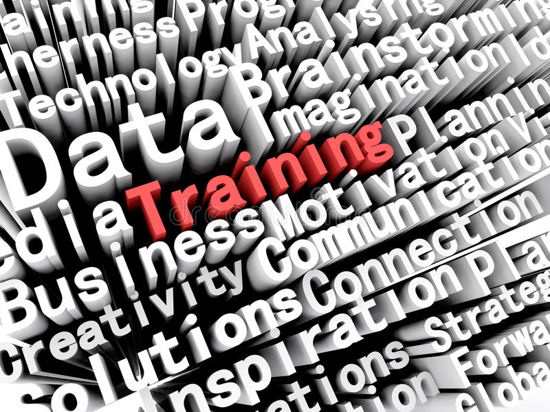 Concept graphic depicting business and training written in red. A concept graphic depicting business words aligned next to each other with the word training vector illustration