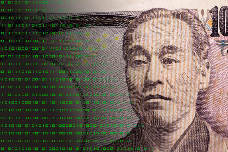 Concept graphic depicting Fintech on Japanese 10000 bill stock illustration