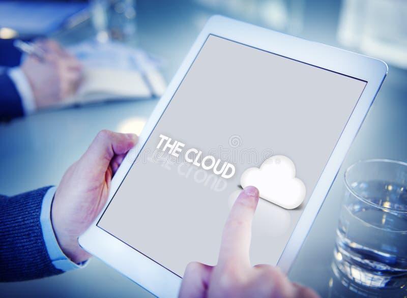 Concept graphique d'icône de sauvegarde des données de réseau de nuage photos libres de droits