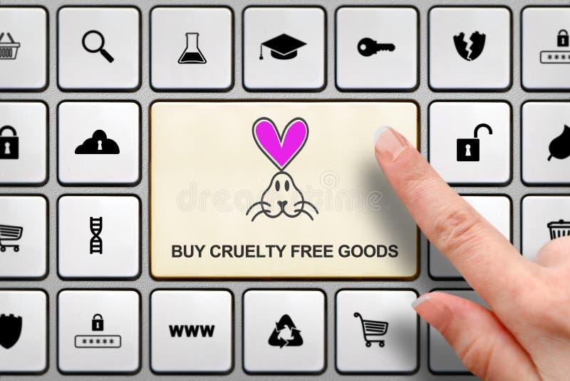 Concept gratuit de cruauté, doigt du ` s de fille au-dessus du grand bouton sur le clavier photos libres de droits