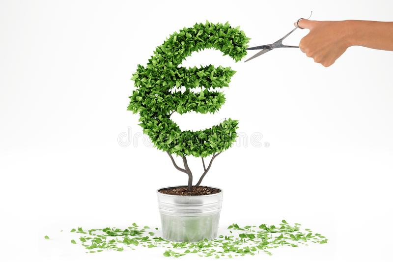 Potted plant with eur shape. 3D Rendering stock photos