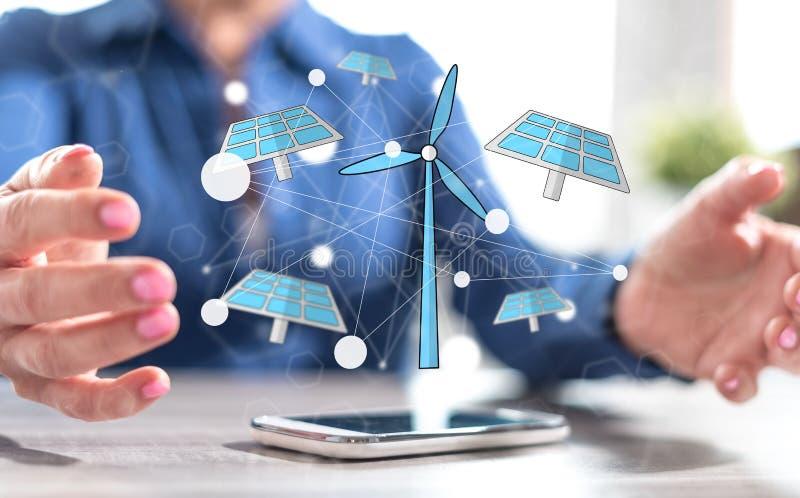 Concept of green energy stock photos