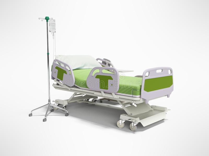 Concept green hospital bed semi automatic with remote control and drip on tripod 3d render on gray background with shadow stock illustration