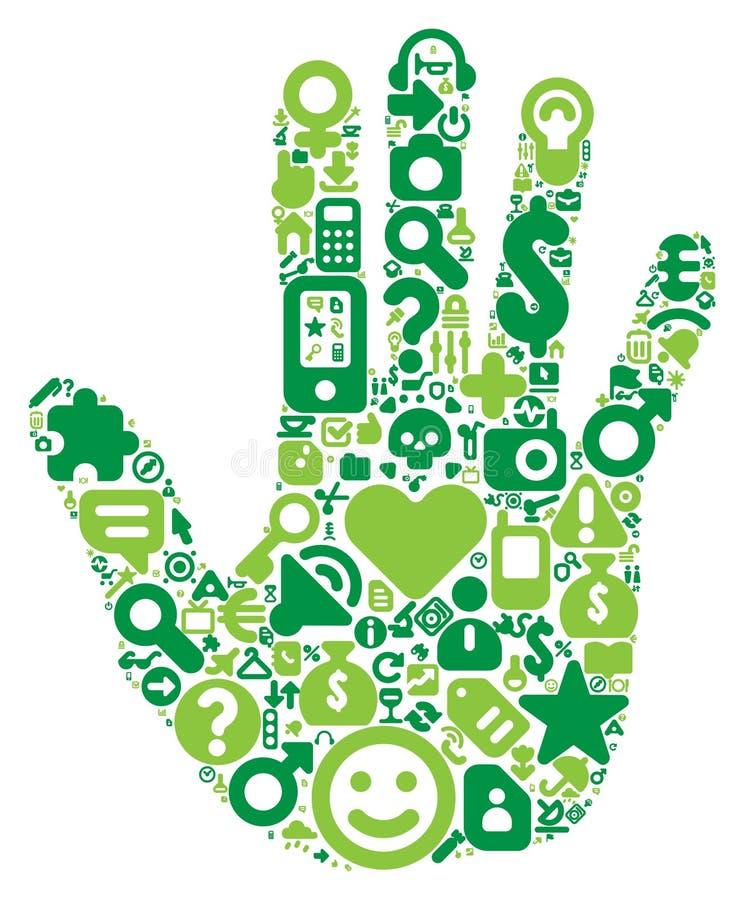 Concept groene menselijke hand royalty-vrije illustratie