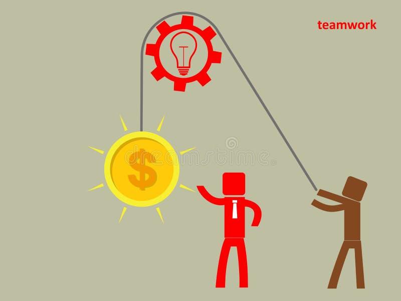 Concept groepswerk - een mens steunt hersenen op een kabel Winst c stock illustratie