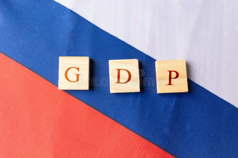 Concept of Gross Domestic Product or GDP of Yugoslavia, on Yugoslavia flag.  royalty free stock photos