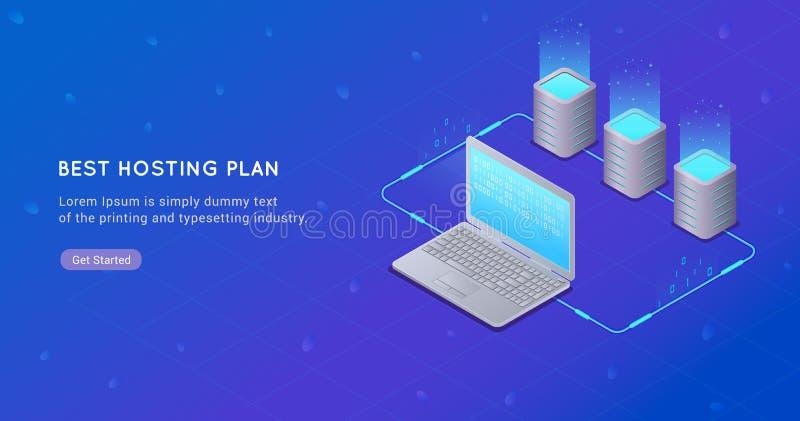 Concept grote gegevens - verwerking, Web het ontvangen en serverruimte, computer vector illustratie