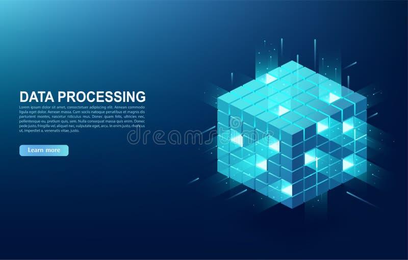Concept grote gegevens - verwerkingscentrum, wolkengegevensbestand, de post van de serverenergie van toekomst Digitale informatie royalty-vrije illustratie