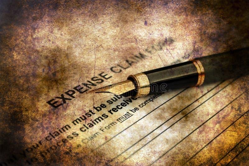 Concept grunge de formulaire de réclamation de dépenses image libre de droits