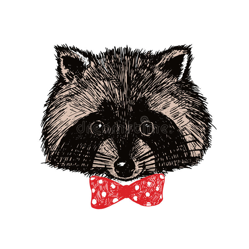 Concept hand drawn cute raccoon in bow-tie. Vector illustration. stock illustration