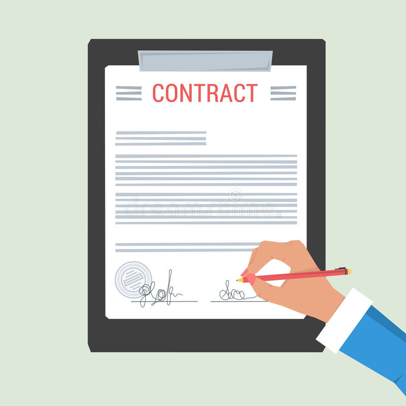 Concept Hand signs contract royalty free illustration