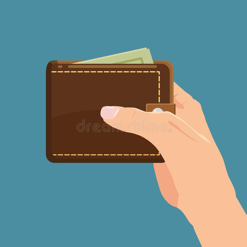 Concept with hand and wallet full of money. Online shopping. Pay per click. Money making. Isolated. Vector illustration. Cartoon s. Concept with hand and wallet stock illustration