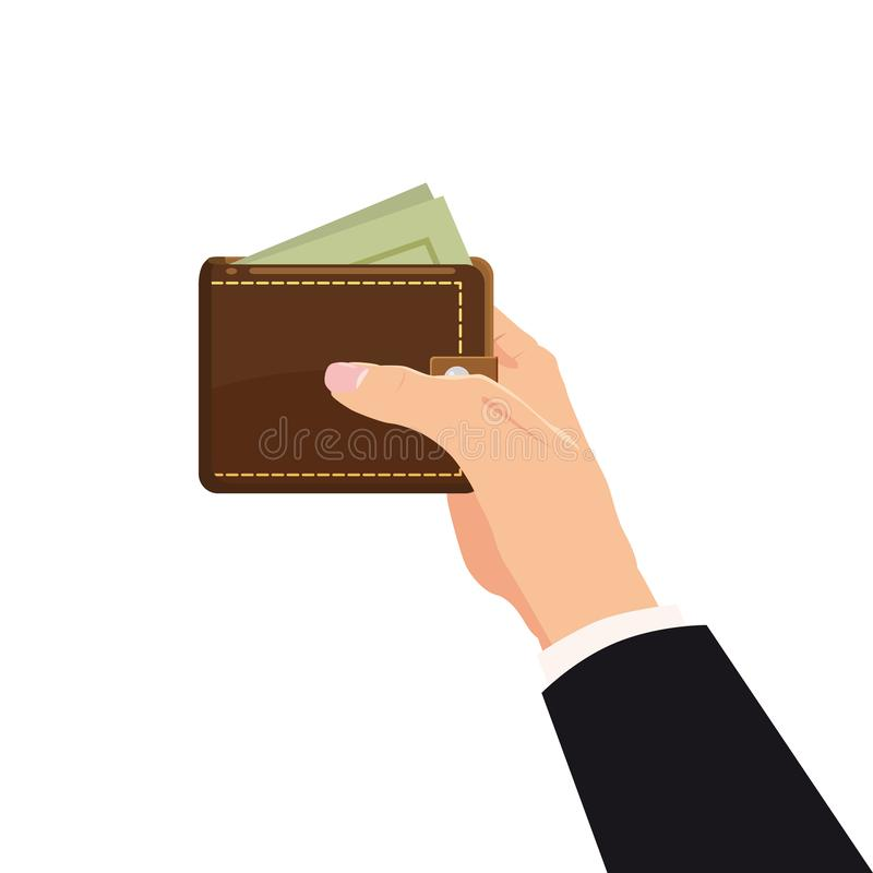 Concept with hand and wallet full of money. Online shopping. Pay per click. Money making. Isolated. Vector illustration. Concept with hand and wallet full of royalty free illustration