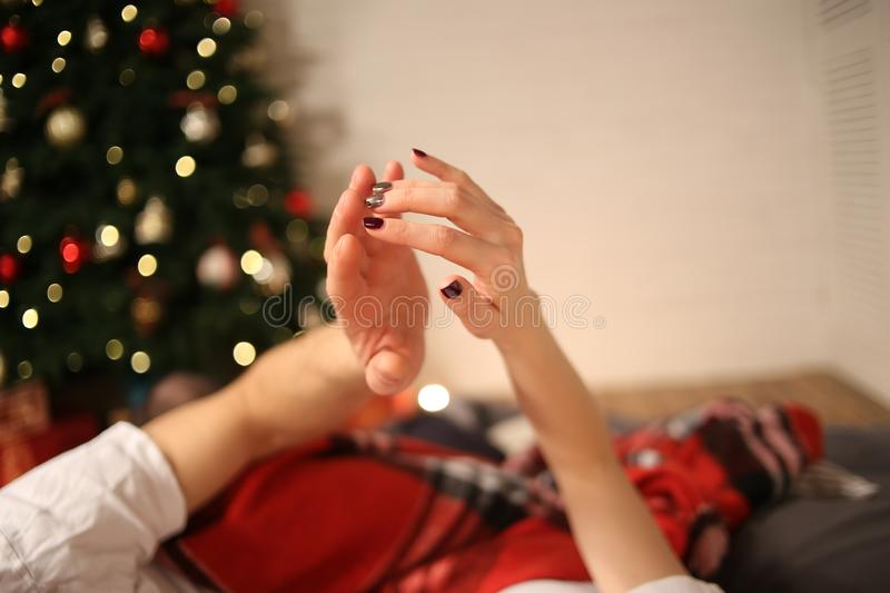 concept hands couple new year christmas love royalty free stock image