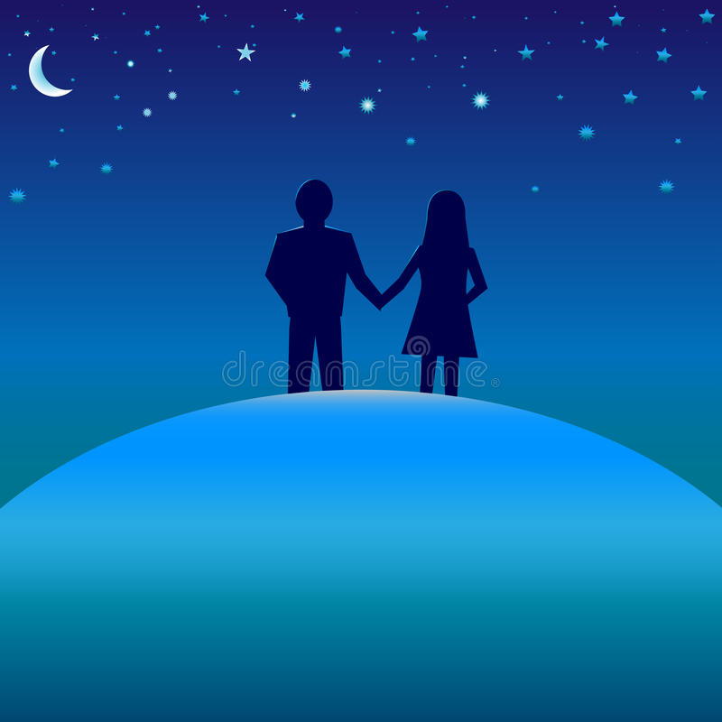 Concept of happiness. Happiness concept. Silhouettes of boy and girl on blue globe under starry night skies with moon stock illustration