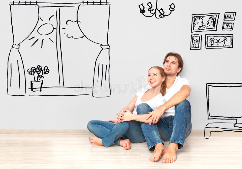 Concept : happy couple in new apartment dream and plan interior royalty free stock images