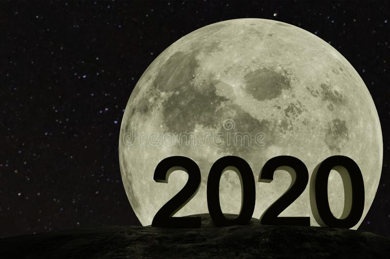 2020 concept, the happy new year coming in 2020 in front of the moon background , happy new year 2020 stock photos