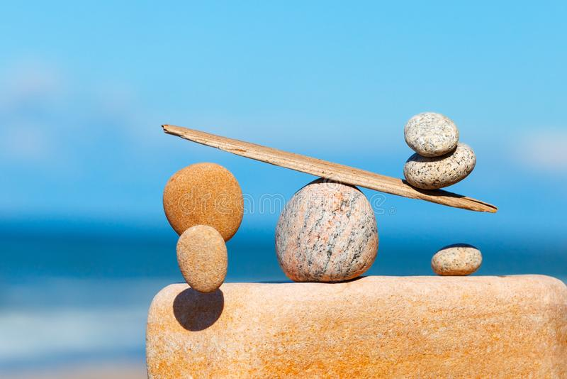 Concept of harmony and balance. The disturbed equilibrium. Imbalance royalty free stock images