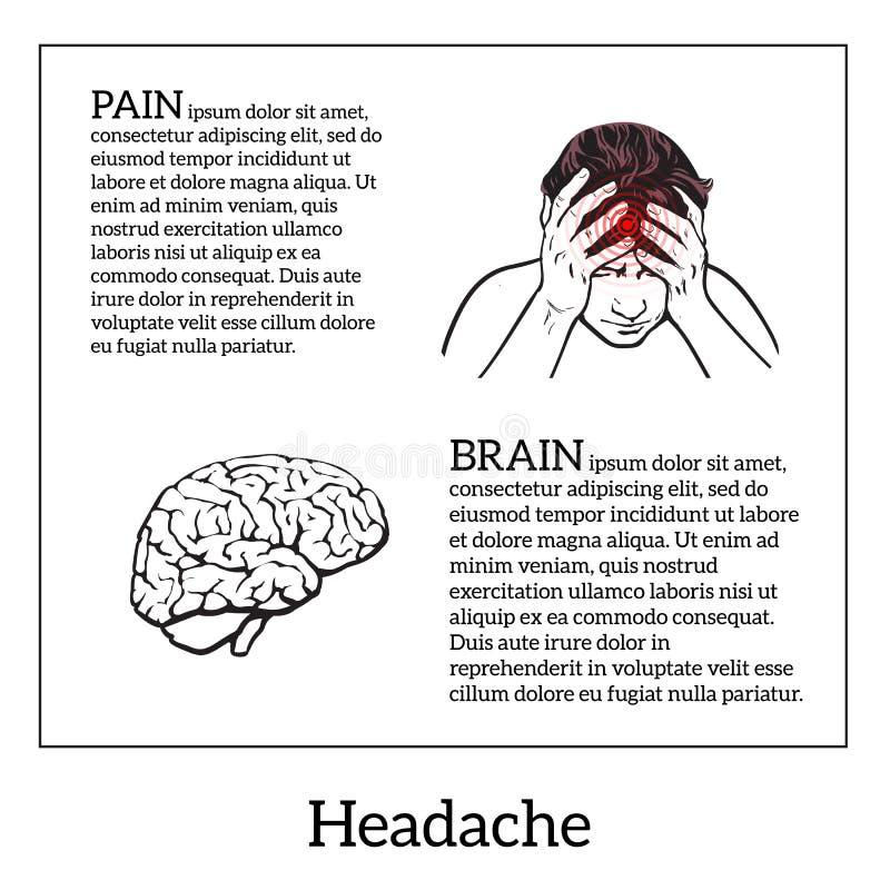 Concept headache, brain sketch illustration royalty free illustration