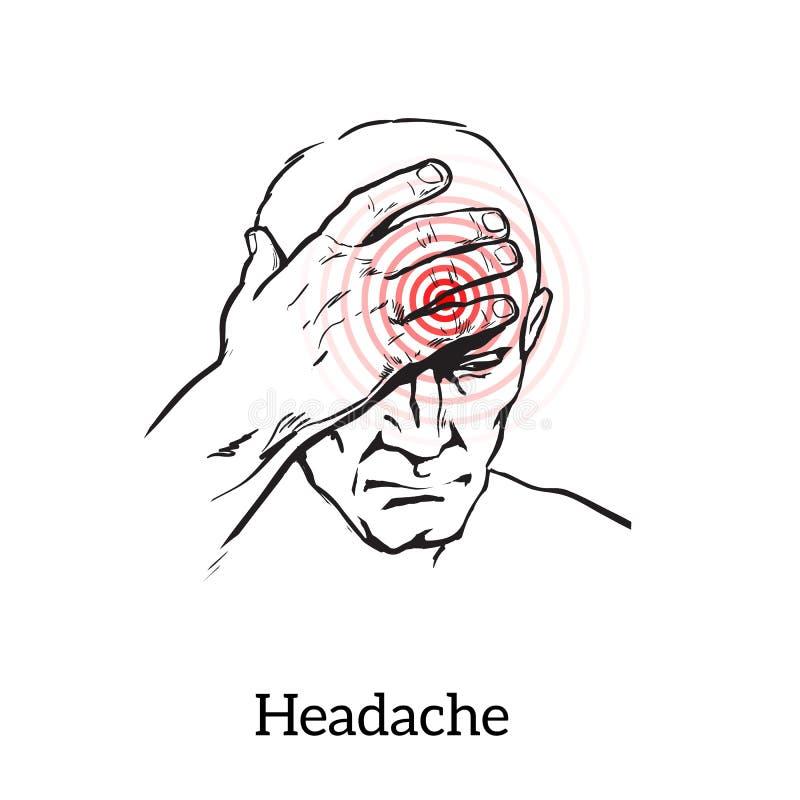 Concept headache, sketch illustration vector illustration